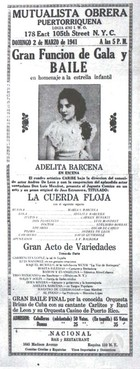 Flyer for a Performance at the Mutualista Obrera Puertorriqueña.