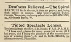 Advert for Hearing Aids and Lenses, 1870