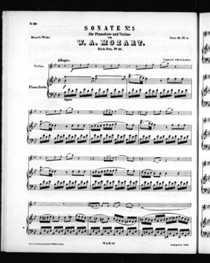 Sonate No. 5 für Pianoforte und Violine, K. 10, B Flat Major