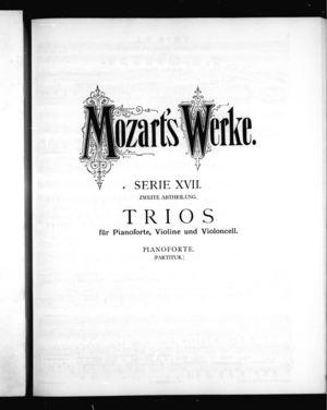 Trio No. 1 für Pianoforte, Violine, und Violoncell