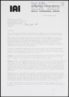 Letter from David Dalby, Director, International African Institute, to MG, 30 Dec. 1974