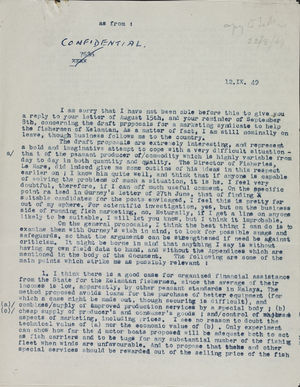 Confidential Letter from Raymond Firth to Unidentified Recipient, September 9, 1949