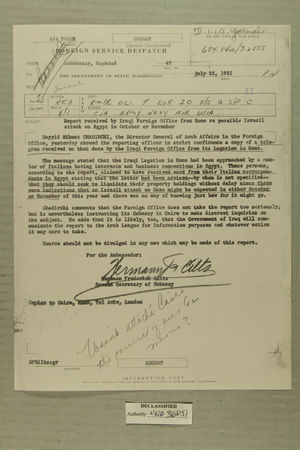 Despatch Re: Report received by Iraqi Foreign Office from Rome re possible Israeli attack on Egypt in October or November. July 25, 1955