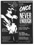 Brochure for Once Is Never Enough by Lane Nishikawa, Rick Shiomi, and Marc Hayashi, produced by the Pan Asian Repertory Theatre at Playhouse 46, October 8-November 1985.