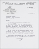 Letter from Ruth Jones to MG, 31 Aug. 1973