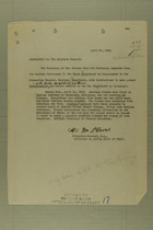 Memo from the Brigadier-General, N.A. to The Adjutant General, April 17, 1918