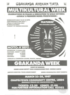 Poster advertising Gbakanda Afrikan Tiata's Multikultural Week in Leeds, England
