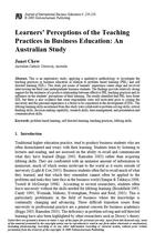 Learners' Perceptions of the Teaching Practices in Business Education: An Australian Study