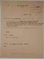 Cover Memo from Watson to D.Q.M. Pedro Miguel re: Complaint about Removal of Screen, May 21, 1920