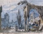 Set design by Pietro Bertoja (1828-1911) for Lucia di Lammermoor, opera by Gaetano Donizetti (1797-1848), performed at Teatro Comunale in Bologna, 1854