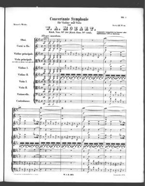 Concertante Symphonie für Violine und Viola, K. 364, K. 364, E Flat Major