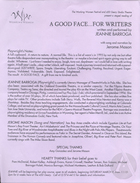Flyer for a staged reading of A Good Face….For Writers by Jeannie Barroga, produced at the Working Women Festival with 450 Geary Studio Theatre in San Francisco, CA, 1996.