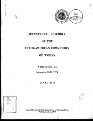 Final Act: Seventeenth Assembly of the Inter-American Commission of Women, Washington, D.C., September 16-23, 1974