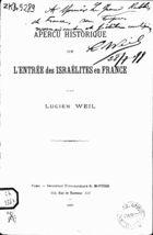 Aperçu Historique de l'Entrée des Israélites en France