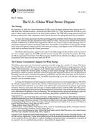 The U.S. – China Wind Power Dispute