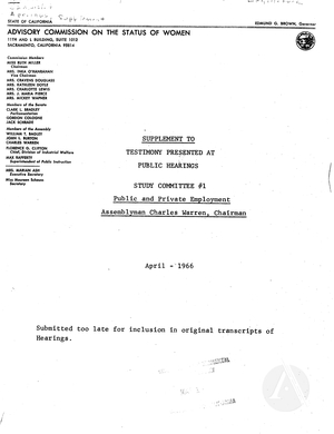 Supplement to Testimony Presented at Public Hearings: Study Committee #1, Public and Private Employment, April 1966