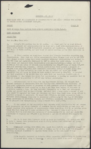 Copy of Cable from British Food Mission, Washington, May 7, 1946