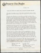 Draft of Preserve Our Poudre Action Alert: Writing to Governor Richard Lamm, September 1983
