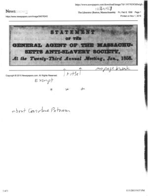 Statement of the General Agent of the Massachusetts Anti-Slavery Society