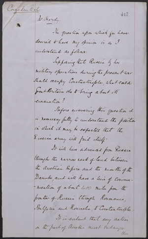 Confidential from J. L. A. Simmons to Mr. Hardy, July 26, 1877