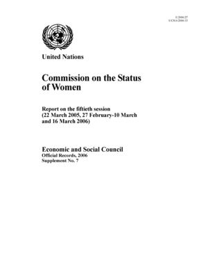 Report on the 50th Session, New York, 22 March 2005, 27 February-10 March and 16 March 2006