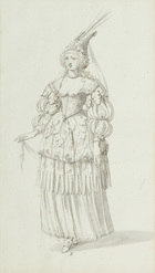 Chloris: alternative sketch for Henrietta Maria, c.1631 (pen & ink on paper)