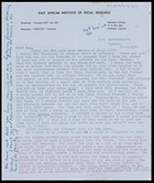 Letter from Jaap Van Velsen, East African Institute of Social Research, to MG, 23 Nov. 1958