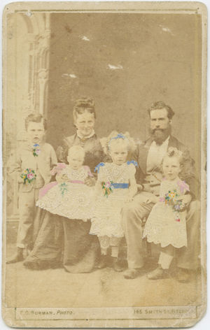 Clark Family Photo 1873 74 2 Adults 4 Children Carte De