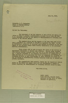 Letter from Henry Jervey to Honorable B. C. Hernandez, July 24, 1919