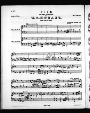 Fuge für zwei pianoforte, K. 426, C Minor