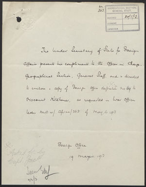 Letter from Sir Edward Grey to Viscount Kitchener, April 24, 1913