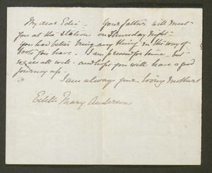 Letter from Edith Anderson to Edith Thompson, undated