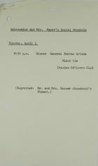 Ambassador and Mrs. Meyer's Social Schedule April 5, 1966