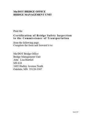 Certification of Bridge Safety Inspection to the Commissioner of Transportation
