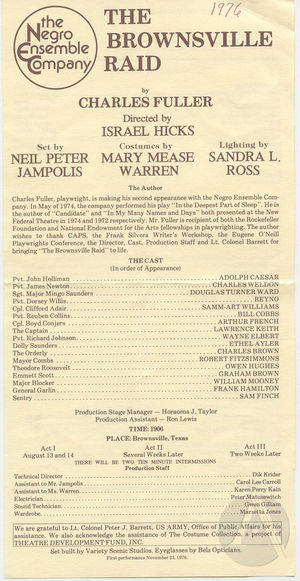 Playbill for <i>The Brownsville Raid</i> by Charles Fuller