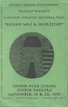 Program for Kenny Was A Shortstop by Jeannie Barroga, produced by Edison High School at their Studio Theatre on November 19th and 20th, 1993 in Stockton, CA.