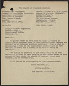 Letter from Sylvia McNeill to County Welfare Organizer, Radnorshire, July 24, 1945