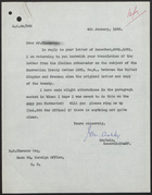 Letter from Captain Ashley to R. C. Thomson, January 4, 1922
