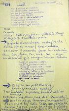Manuscript of the Lyrics of a Corrido by Teatro Desengano del Pueblo.