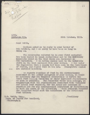 Letter from A. Alderman to H.R. Smith, Oct. 20, 1939
