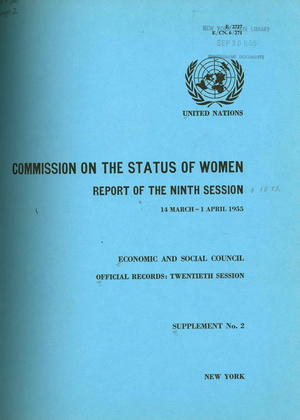 Commission on the Status of Women: Report of the Ninth Session, 14 March - 1 April 1955