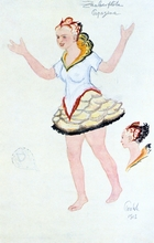 Costume design for Papegena, 1913. Papegena, the little wife that Papegeno, the bird catcher, has longed for. 'The Magic Flute' ('Die Zauberflote'), opera by Wolfgang Amadeus Mozart (1756-1791) with libretto by Emanuel Schikaneder (1751-1812) was first produced in Vienna in 1791. The plot has overtones of Freemasonry. Some say Queen of the Night is based on the Empress Maria Theresa (1717-1780). Design for a 1913 production at the Paris Opera.