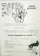 Flyer for Silent Partners by Nicolas Kanellos, Presented by Teatro Desengano del Pueblo at the Indiana University Northwest, 1977.