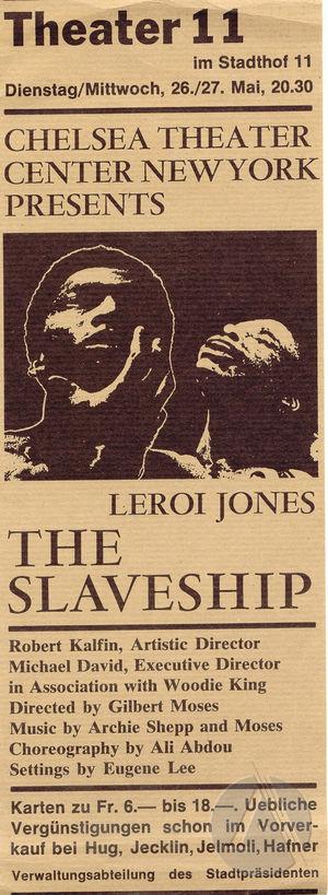 Flyer for the play <i>The Slaveship</i> by LeRoi Jones