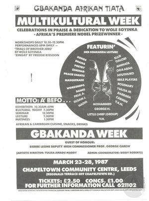 Poster advertising Gbakanda Afrikan Tiata's Multikultural Week in Leeds, England