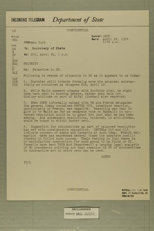 Palestine in [Security Council], April 22, 1954