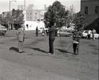 Photograph of Leonardo García Astol Showing the Parking Lot where Once the Teatro Nacional Stood in San Antonio.