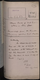 Correspondence Cover Sheet re: Alleged Murder of West Indians by Police in Colon, September 21, 1916