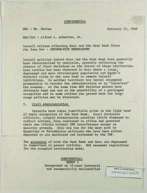 Information Memorandum from U. S. Department of State, Division of Near Eastern Affairs, re: Israeli Actions Affecting Gaza and the West Bank Since the June War, February 23, 1968