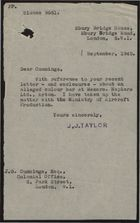 Note from J. J. Taylor to J. G. Cummings re: Alleged Colour Bar at Napiers Ltd., Acton - Discussion with Ministry of Aircraft Production, September 1, 1942